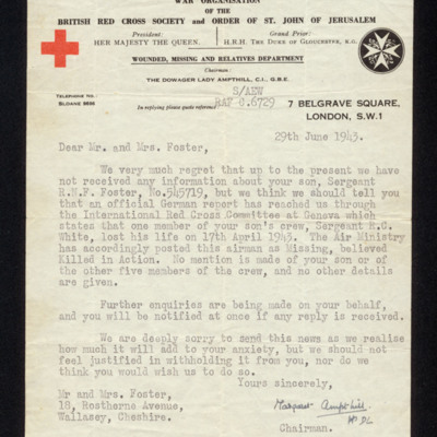 Letter to Mr and Mrs Foster from the British Red Cross Society